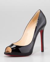 Christian Louboutin Flo Patent Leather Red Sole Peep-Toe Pump, Black