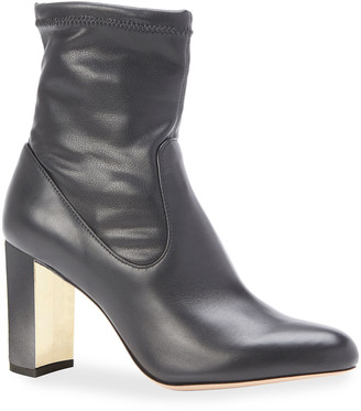 Marion Parke Kate Stretch Leather Block Heel Booties
