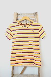 Scotch & Soda Multi Coloured Stripe T Shirt - S - Yellow/White/Purple