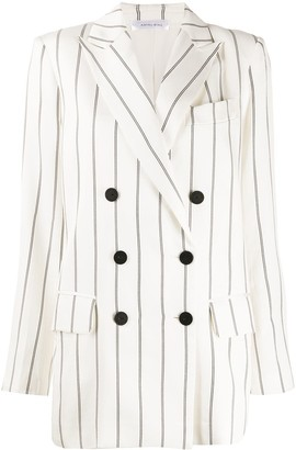 Anine Bing Pinstripe Double-Breasted Blazer