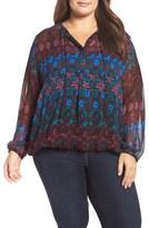 Lucky Brand Plus Size Women's Print Sheer Blouson Top