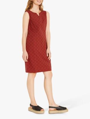 White Stuff Marina Circle Print Cotton Linen Pinafore Dress, Burnt Orange