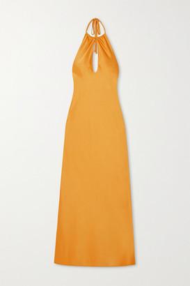 PARIS GEORGIA Cutout Satin Halterneck Midi Dress - Gold