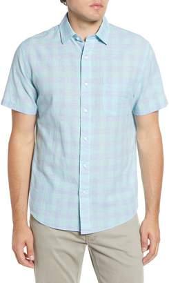 Faherty Regular Fit Check Short Sleeve Stretch Cotton & Linen Button-Up Sport Shirt