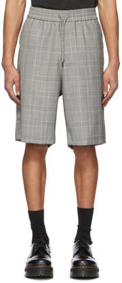 R 13 Grey Wool Plaid Baggy Shorts