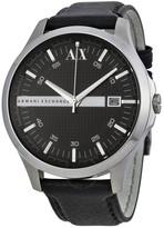 Armani Exchange Whitman Black Dial Black Leather Men's Watch