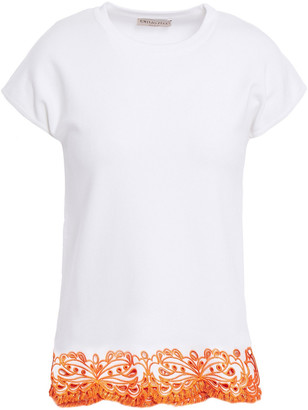 Emilio Pucci Tasseled Broderie Anglaise-trimmed Stretch-jersey Top