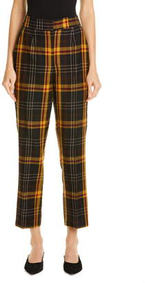 Etro Straight Leg Tartan Wool Crop Pants
