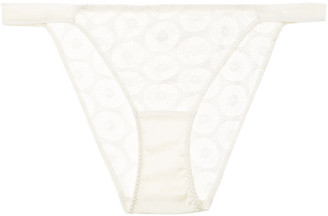 Myla Carnaby Street Stretch-leavers Lace And Satin Low-rise Briefs