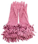 Burberry Suede Fringe Gloves