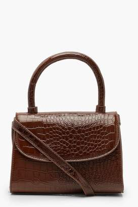 boohoo Patent Croc Structured Cross Body Bag