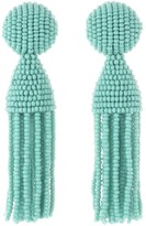 Oscar de la Renta Seafoam Short Beaded Tassel Earrings