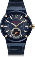 Salvatore Ferragamo F-80 Motion Blue IP Stainless Steel Men's Watch w/Blue Croco Embossed and Black Rubber Strap
