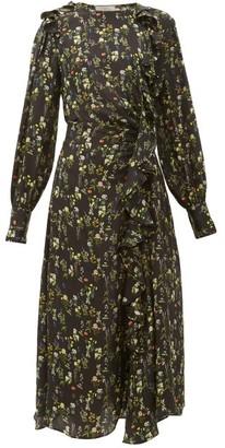 Preen by Thornton Bregazzi Nicola Ruffled Floral-print Silk-blend Midi Dress - Black Print