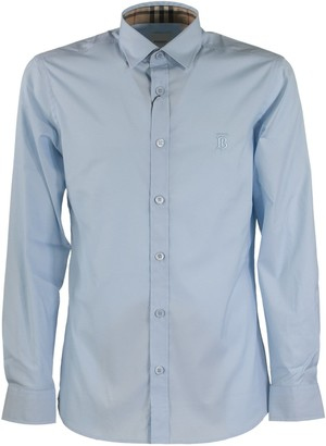 Burberry Slim Fit Monogram Stretch Cotton Shirt Sherwood Pale Blue