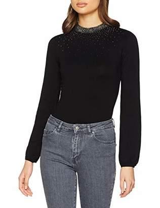 Warehouse Women's Scatter Embellished Neck Regular Fit Plain Crew Neck Long Sleeve Jumper,(Manufacturer Size:)