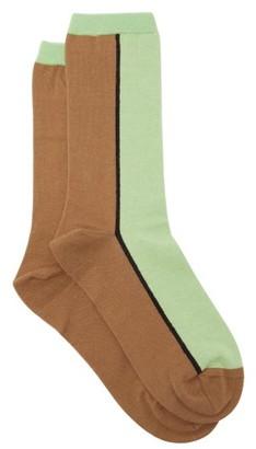 Ganni Two-tone Cotton-blend Socks - Womens - Green Multi