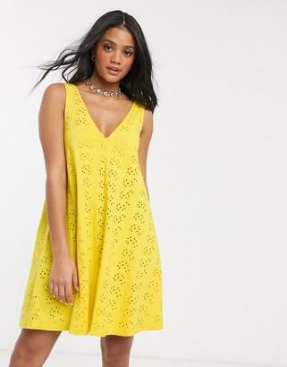 ASOS DESIGN broderie swing mini sundress in yellow