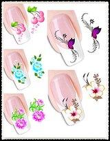 DaLin 5 Packs 3D Flower Design Nail Art Sticker Decal Tattoos Nail Decoration