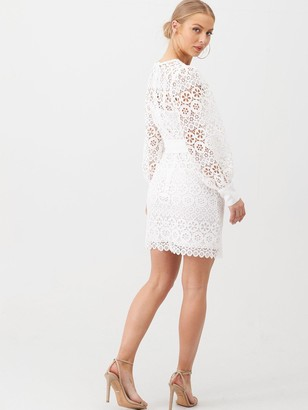 Very Lace Balloon Sleeve Tie Mini Dress - White