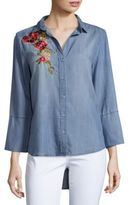 Saks Fifth Avenue Caddy Embroidered Denim Shirt