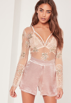 Missguided Nude Lace Embellished Plunge Neck Bodysuit