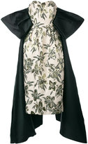 Christian Pellizzari strapless jacquard tailed sleeve gown - women - Cotton/Polyester/Acetate/Viscose - 42