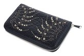 Roberto Cavalli Womens Black Silver Studded Zip Continental Wallet.