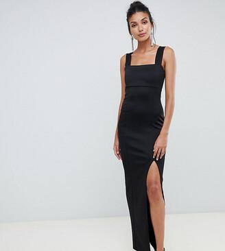 Asos Tall DESIGN Tall Square Neck Maxi Dress with Thigh Split-Black