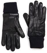 Burberry Oscar Knit Cuff Leather Gloves