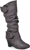 Journee Collection Gray Irene Wide-Calf Wedge Boot