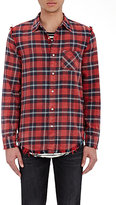 "R 13 Men's Plaid ""Inside-Out"" Shirt-RED"