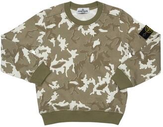 Stone Island Camouflage Print Cotton Sweatshirt