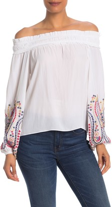 Ramy Brook Carly Embroidered Off-the-Shoulder Blouse