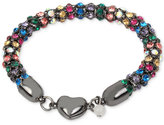 Betsey Johnson Hematite-Tone Multi-Crystal Heart Bracelet