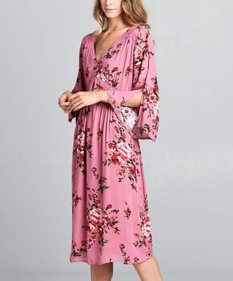 Simply Boho La Simply Boho LA Women's Casual Dresses PINK - Floral Print Midi-Dress - Women & Plus