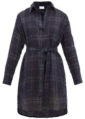 POUR LES FEMMES Embroidered Linen-blend Shirt Dress - Navy Print