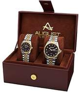August Steiner Unisex Quartz Movement Watch Set with Black Dial Analogue Display and Two Tone Alloy Bracelet AS8201TTG