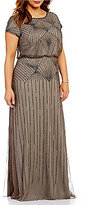 Adrianna Papell Plus Round Neck Short Sleeve Beaded Blouson Gown