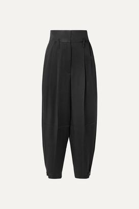 Givenchy Gabardine-paneled Satin-crepe Tapered Pants - Black