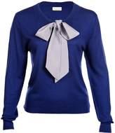 Asneh - Helen Sweater Blue with Silver Grey Silk Tie