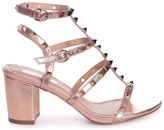 TESSA Rose Gold Studded Block Heeled Sandal