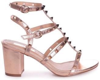Linzi TESSA - Rose Gold Studded Block Heeled Sandal