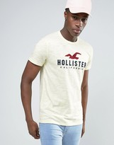 Hollister Seagull Logo T-Shirt Slim Fit In Yellow