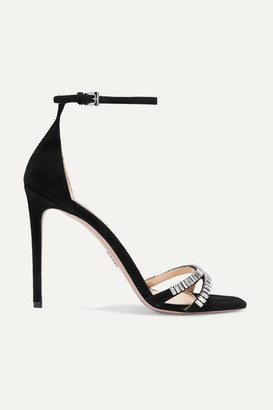 Prada 105 Crystal-embellished Suede Sandals - Black