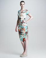 Jean Paul Gaultier Short-Sleeve Floral-Print Dress