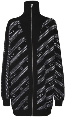Givenchy Oversize Logo Zip-Up Wool Knit Cardigan