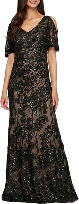Alex Evenings Sequin Lace Cold Shoulder Trumpet Gown