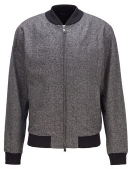 HUGO BOSS Slim-fit bomber jacket in a melange wool blend