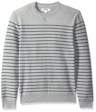 Goodthreads Men's Soft Cotton Multi-Color Striped Crewneck Sweater